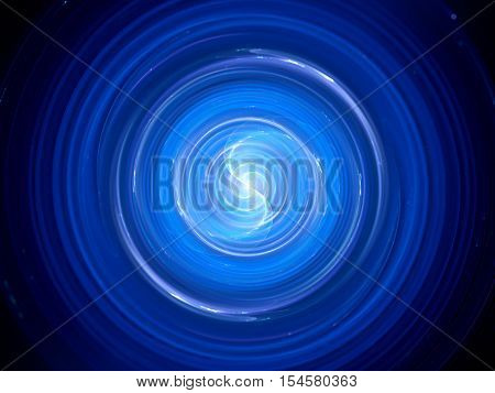 Blue glowing spinning wave source in space x-ray pulsar computer generated abstract background 3D render