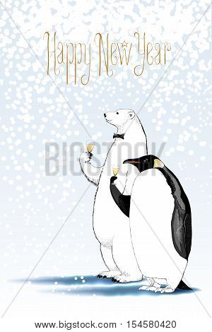 Happy new year 2017 vector drawing greeting card. Polar bear and penguin drinking glass of champagne funny nonstandard illustration. Design element with Happy New Year text