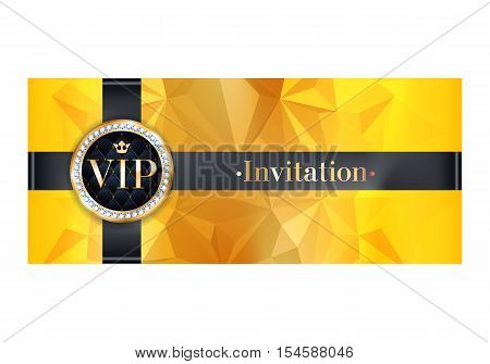 VIP party premium invitation card poster flyer. Black and golden design template. Yellow faceted decorative background with black ribbon and round badge.