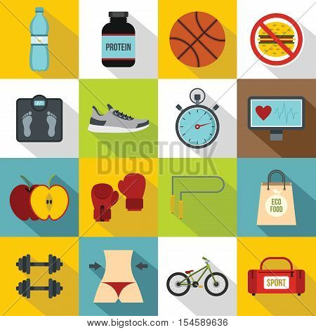 Healthy life icons set. Flat illustration of 16 healthy life travel vector icons for web