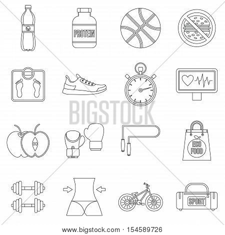 Healthy life icons set. Outline illustration of 16 healthy life travel vector icons for web