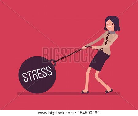 Businesswoman dragging a giant heavy weight on chain, written Stress on a ball. Cartoon vector flat-style concept illustration
