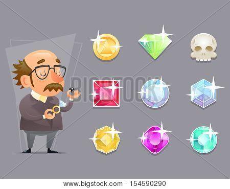 Jeweler Valuer Appraiser Quality Check Process Icon Set Retro Cartoon Mobile game Vector Illustration