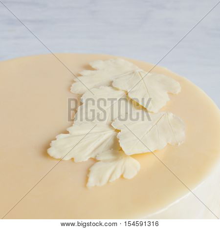 Leaves of white white chocolate on the cake with a smooth glaze. high-key, all shades of white and ivory. Mousse cake on a white wooden box. Rustic. Copy Space. View blank space for text.