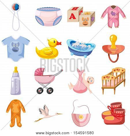 Baby born icons set. Cartoon illustration of 16 baby born vector icons for web