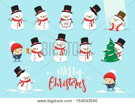 Snowman Christmas, character cartoon cute white snowman attributes of Christmas. Set Christmas characters snowman with a little boy
