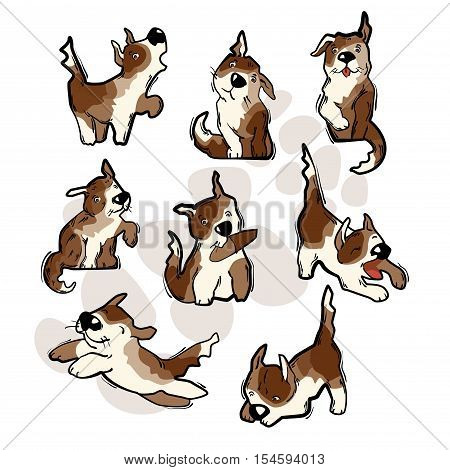 Funny cartoon dog. Vector illustration isolated on white background.