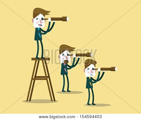 Business people with telescope in different perspective. leadership vision concept. flat character design. vector illustration