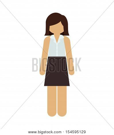 silhouette woman with short hair and skirt vector illustration