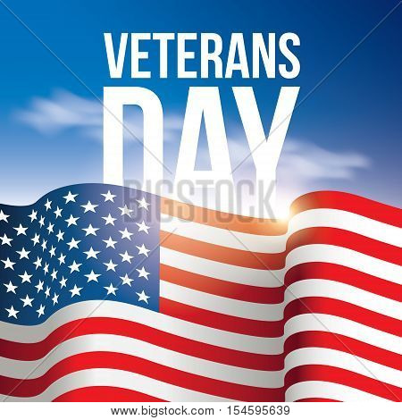Veterans Day poster, banner  USA, American flag background against the blue sky