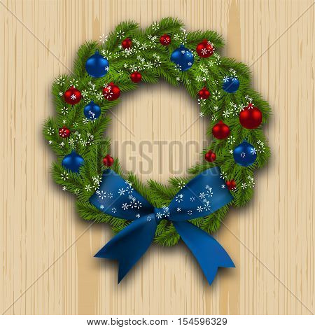 Christmas wreath. Green branch of fir with red, blue balls and blue bow on wood background. Christmas cards. Vector illustration