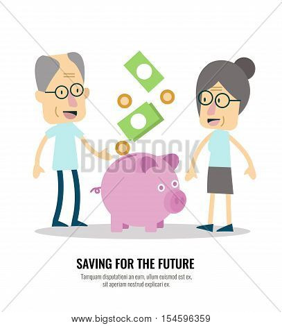 Old people with retirement savings. flat character design. vector illustration
