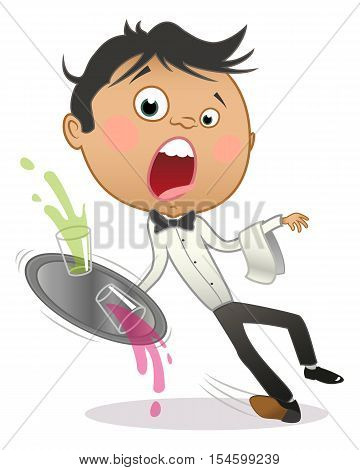 Cartoon young waiter slipping and dropping the tray with drinks. Isolated on white.