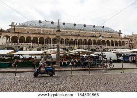 PADUA, ITALY - MAY3, 2016: Palazzo della Ragione on Piazza della Frutta in Padue Italy
