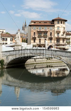 PADUA, ITALY - MAY3, 2016: Bridge on Piazza Prato della Valle Padua Italy.