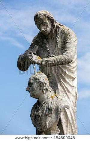 The statue of Antonio Canova (1757-1822) who was an Italian sculptor from the Republic of Venice. The statue is located in Prato della Valle Padua Italy