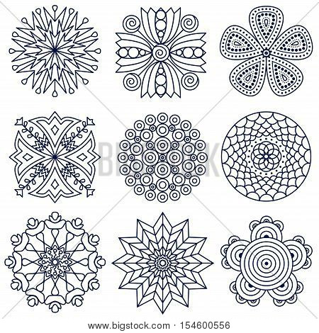 Flower mandala elements. Floral doodle stamp and punch set, ornamental prints for coloring book pages, botanicals icons.