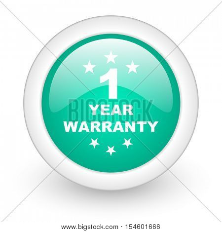 warranty guarantee 1 year round glossy web icon on white background