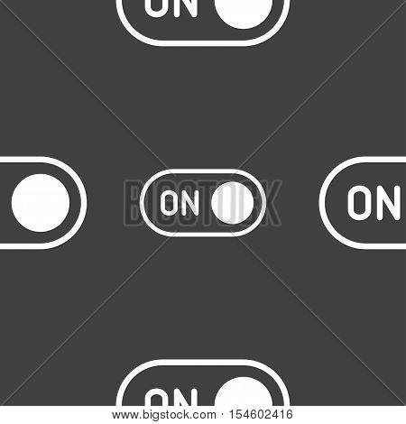 Start Icon Sign. Seamless Pattern On A Gray Background. Vector