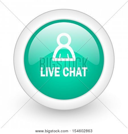 live chat round glossy web icon on white background