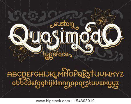 Custom retro typeface Quasimodo. Vintage gold alphabet font set with black flowers