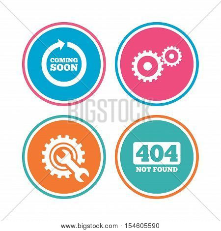 Coming soon rotate arrow icon. Repair service tool and gear symbols. Wrench sign. 404 Not found. Colored circle buttons. Vector