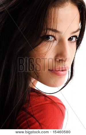 black hair woman portrait on white