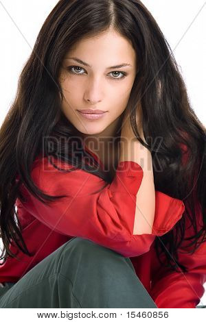 young black hair woman portrait in red shirt