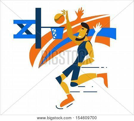 Basketball Player Scoring A Layup Basket During A Professional Basketball Game. Flat Character Desig