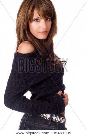 junge Brünette Frau Portrait auf weißem Hintergrund