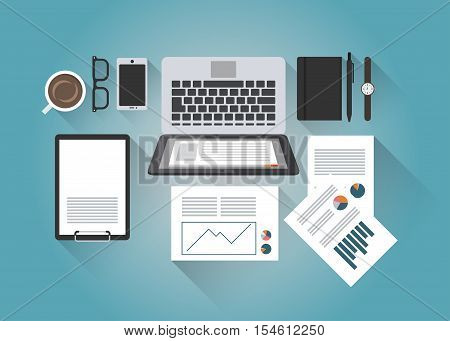 Concept flat vector illustration of businessman office desk with a laptop paperwork report organizer pen smartphone clipboard glasses coffee watches with light shadows. Top view.