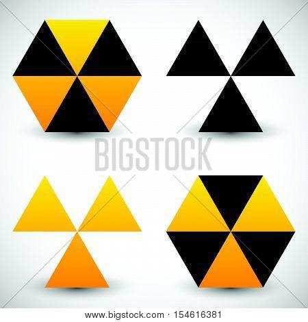 Set Of Geometric Radiation Sign