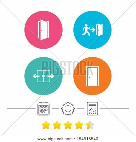 Automatic door icon. Emergency exit with human figure and arrow symbols. Fire exit signs. Calendar, cogwheel and report linear icons. Star vote ranking. Vector
