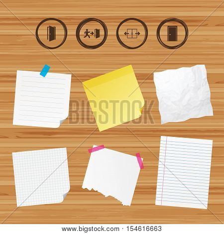 Business paper banners with notes. Automatic door icon. Emergency exit with human figure and arrow symbols. Fire exit signs. Sticky colorful tape. Vector