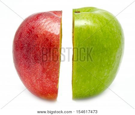 The creative apple combined from two half of red and green color isolated