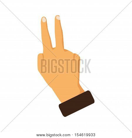 Hand showing two fingers on a white background. Vector illustration