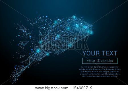 Wire network connection and internet communication technology concept. Abstract wireframe low poly vector. Closeup view of ethernet cable plug connector. Starry sky style. Business concept