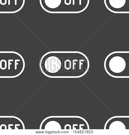 Off Icon Sign. Seamless Pattern On A Gray Background. Vector