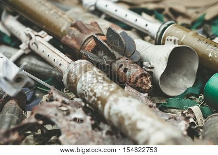 Remnants Of Shells Anti-tank Rocket Propelled Grenade Launcher And High Mobility Artillery Rocket Sy