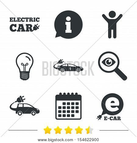 Electric car icons. Sedan and Hatchback transport symbols. Eco fuel vehicles signs. Information, light bulb and calendar icons. Investigate magnifier. Vector