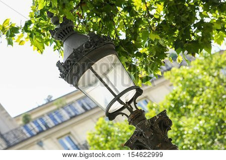 Ornate Lamp Post Along Champs Elysees Avenue In Paris