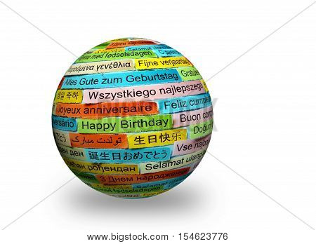 Happy Birthday   Different Languages On 3D Sphere