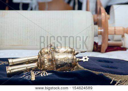 Scripture scroll tora old parchment close up