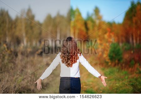 Photo before and after the image editing process. Young beautiful woman with long hair back view. Autumn park