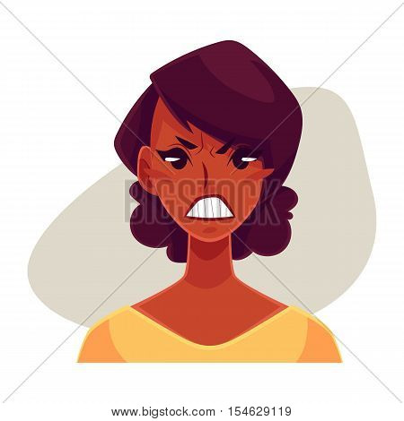 Pretty African girl, angry facial expression, cartoon vector illustrations isolated on gray background. Black woman frowns, feeling distresses, frustrated, sullen, upset. Angry face expression