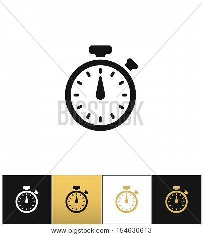 Stopwatch sign or quick accurate analogue clock chronometer timer  vector icons on black, white and gold backgrounds