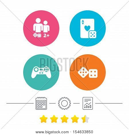 Gamer icons. Board games players signs. Video game joystick symbol. Casino playing card. Calendar, cogwheel and report linear icons. Star vote ranking. Vector
