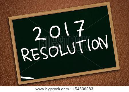 Illustration image of 2017 New Years Resolutions written owith chalk on blackboard, chalkboard design