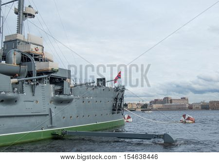 Saint Petersburg Russia September 10 2016: Cruiser Aurora on eternal parking. After the repair. in St. Petersburg Russia