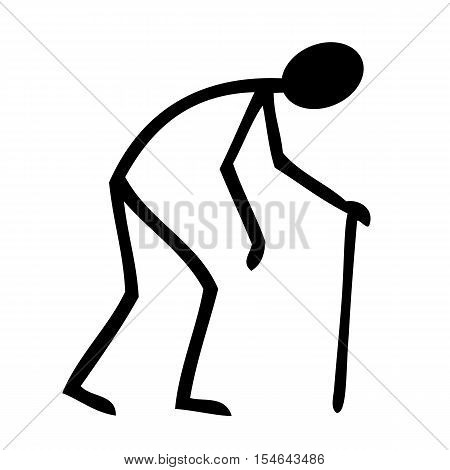 Old person vector illustration isolated on white background